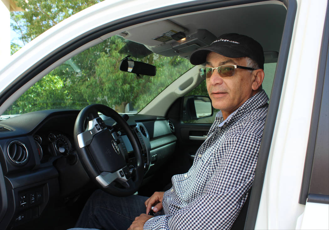 Rob Khadivian, 62, sits in his 2015 Toyota Tundra at his Henderson home, April 4, 2017. He's considering renting his truck for $110 per day. (Gabriella Benavidez Las Vegas Review-Journal) @gabbydeebee