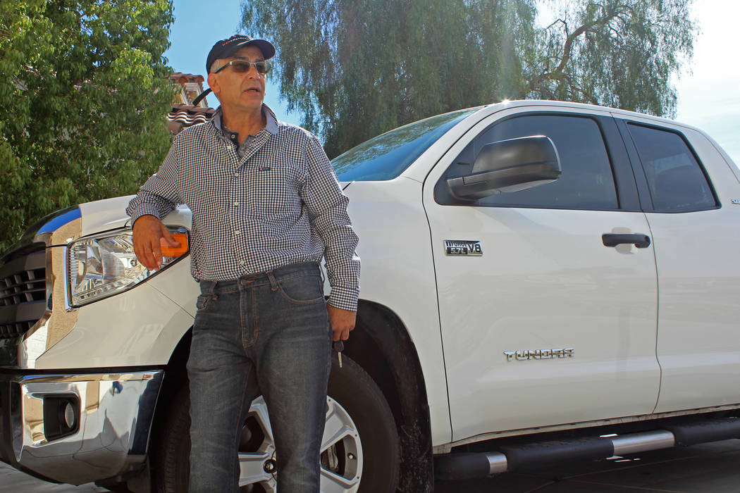 Rob Khadivian, 62, stands next to his 2015 Toyota Tundra at his Henderson home, April 4, 2017. He's considering renting his truck for $110 per day. (Gabriella Benavidez Las Vegas Review-Journal) @ ...