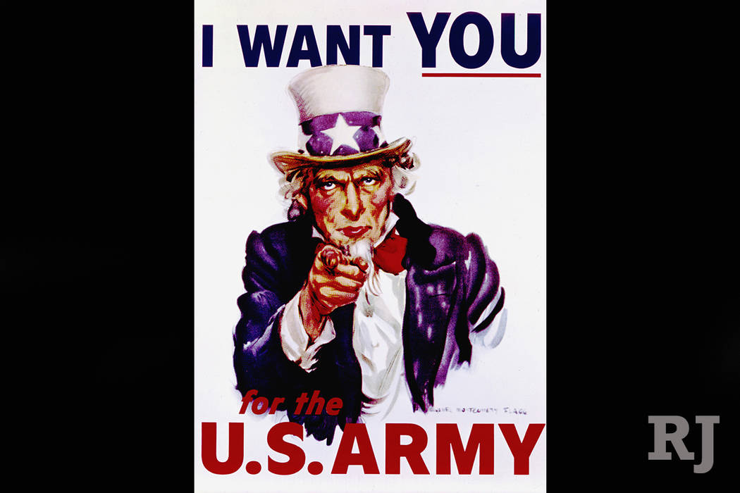 """The classic World War I recruiting poster featuring the """"I Want You"""" portrait of Uncle Sam, created by illustrator James Montgomery Flagg, is turning 100. (AP)"""