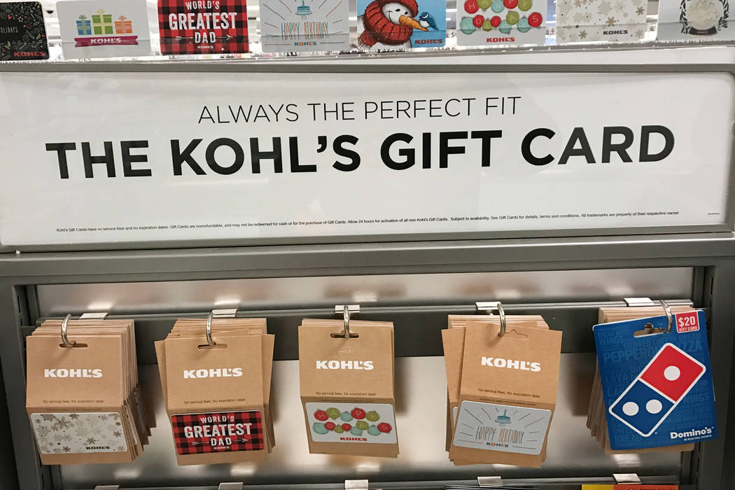 Gift cards at a Kohl's department store in the Queens borough of New York, U.S., January 5, 2017.  Assembly Bill 287 would ban expiration dates on gift cards sold in Nevada. (Shannon Stapleton/Reu ...