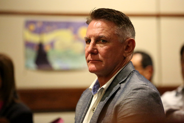 Boulder City psychologist Brent Dennis, who is accused of killing his wife, attorney Susan Winters, appears in court in Henderson on Monday, Feb. 27, 2017. (Michael Quine/Review-Journal) @Vegas88s