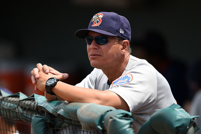 Binghamton Mets manager Pedro Lopez (16) before a game against the Erie Seawolves on July 13, 2014 at Jerry Uht Park in Erie, Pennsylvania.  Binghamton defeated Erie 5-4.  (Mike Janes/Four Seam Im ...