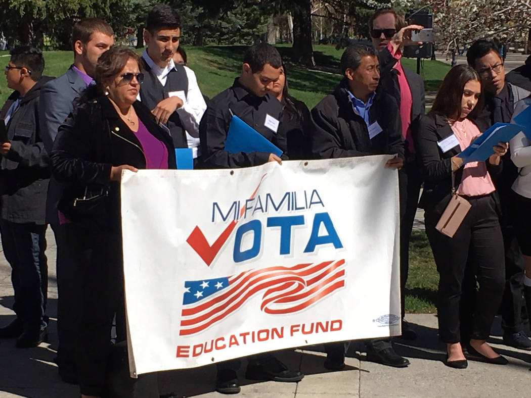 Some of those attending Latino Lobby Day at the Legislature on Monday, April 3, 2017, include representatives of Mi Familia Vota. Sean Whaley/Las Vegas Review-Journal
