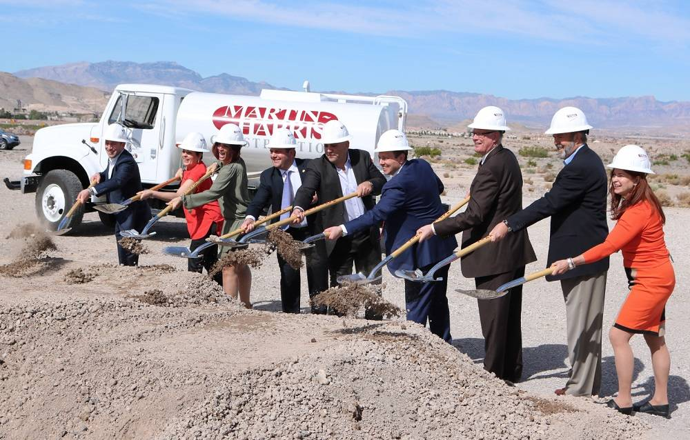 Members of the Turano family, as well as Henderson Mayor-elect Debra March, break ground at the new Turano Baking Co. location in Henderson near St. Rose Parkway. (Courtesy)