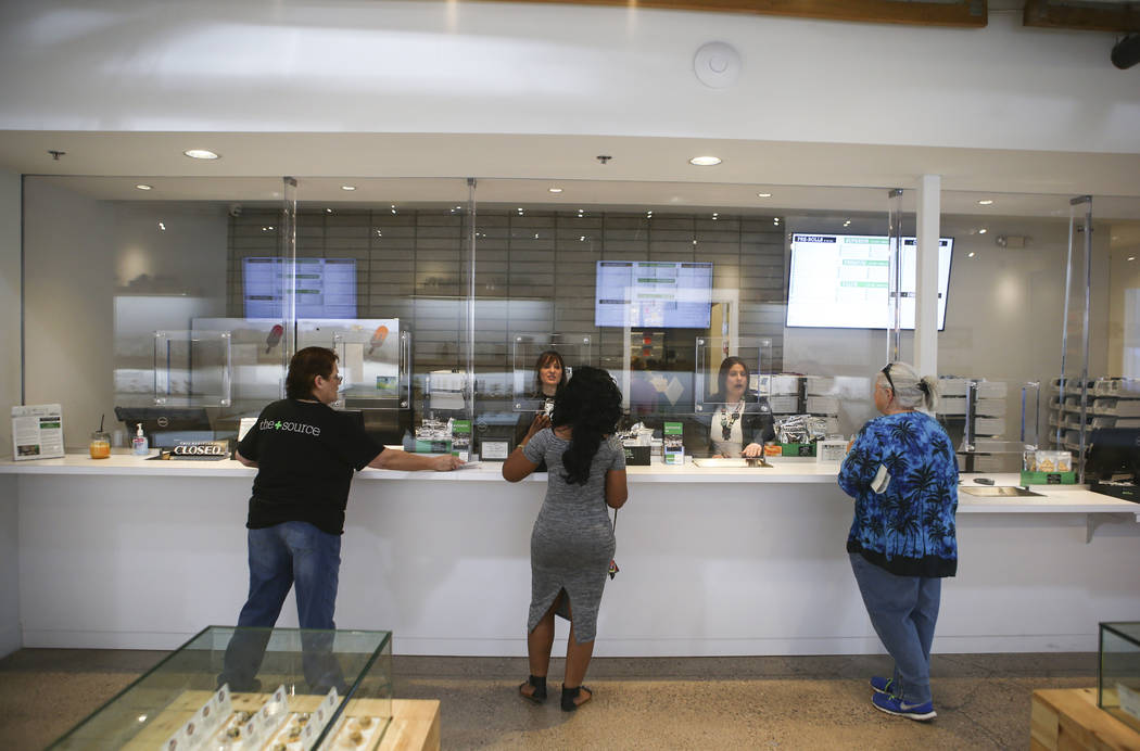 Patients check out at medical marijuana dispensary The Source in Las Vegas on Thursday, March 30, 2017. (Chase Stevens/Las Vegas Review-Journal) @csstevensphoto