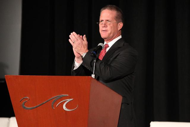 Nevada Lt. Gov. Mark Hutchison speaks during the CES GO-NV Summit at the Mandalay Bay Convention Center on Tuesday, Jan. 3, 2017, in Las Vegas. (Erik Verduzco/Las Vegas Review-Journal) @Erik_Verduzco
