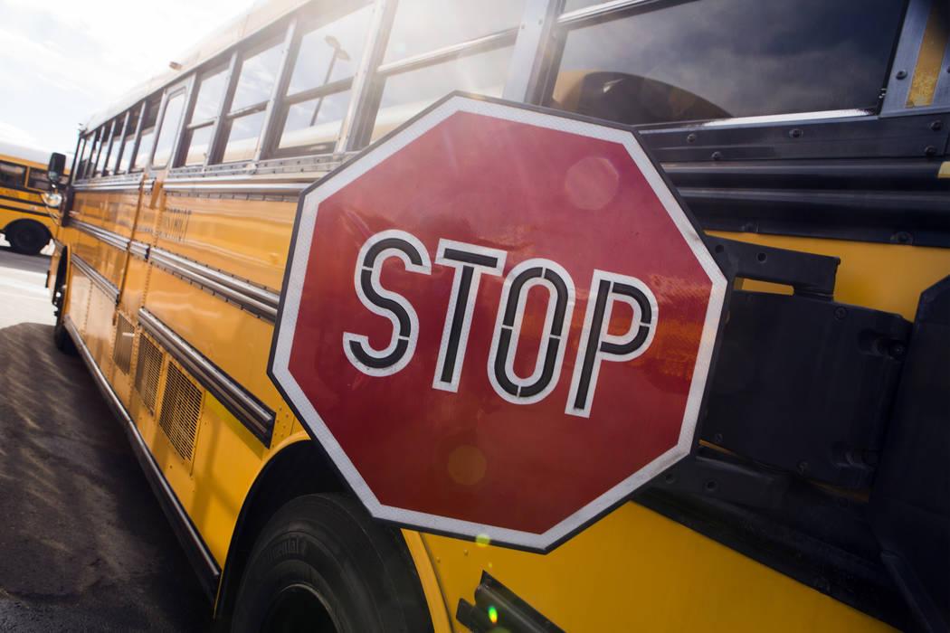 A decommissioned Clark County School District bus in the Northwest Bus Yard, CCSD, 10901 West Washburn Road on Monday, Jan. 23, 2017. (Jeff Scheid/Las Vegas Review-Journal) @jeffscheid