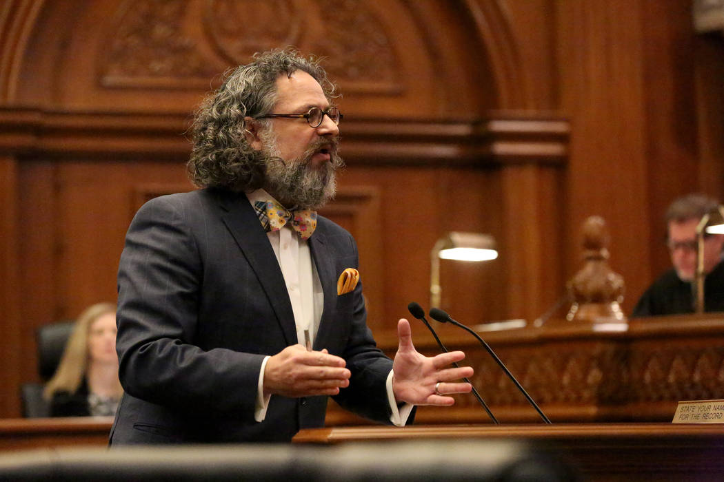 On Tuesday, April 4, 2017, attorney Jacob Hafter argues before the Nevada Supreme Court that the state's medical marijuana registry violates constitutional rights. Michael Quine/Las Vegas R ...