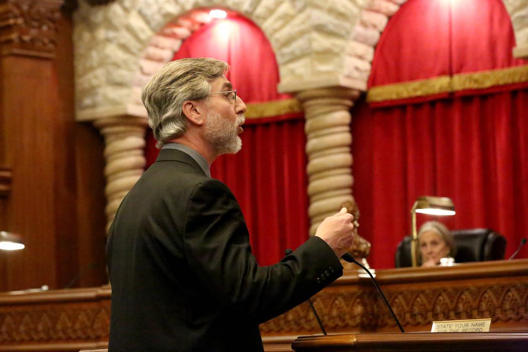 Jordan Powers of the Legislative Counsel Bureau addresses the Nevada Supreme Court regarding the constitutionality of the state's medical marijuana registry on Tuesday, April 4, 2017. Micha ...