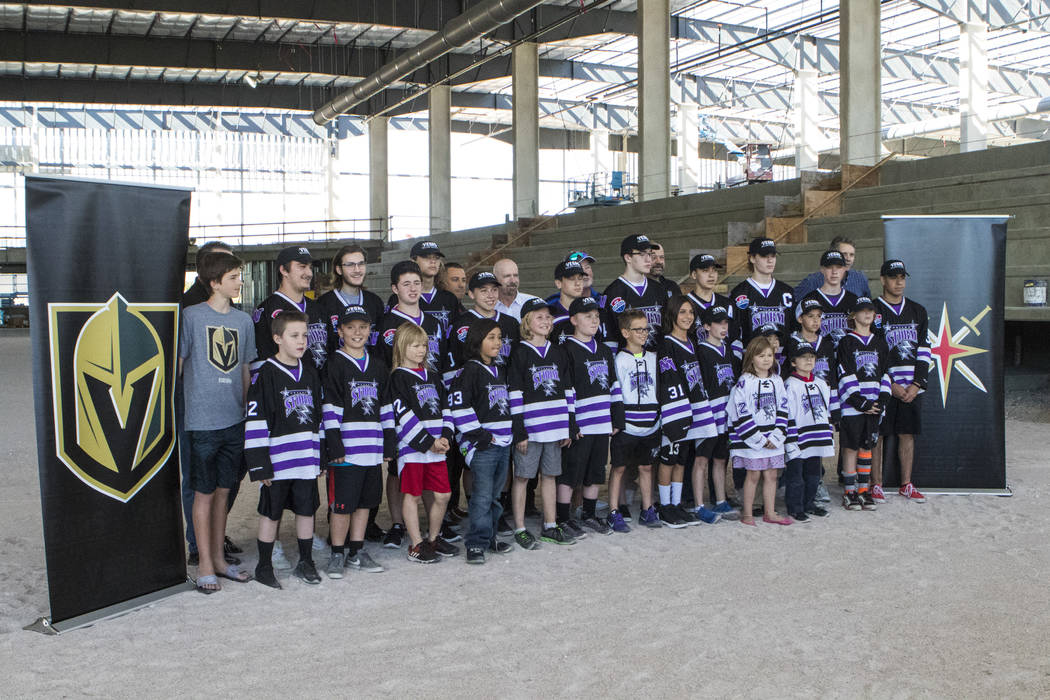 Participants with Nevada Storm youth hockey program at the Golden Knights' practice facility construction site in Las Vegas on Tuesday, April 4, 2017. The NHL expansion team announced that it woul ...