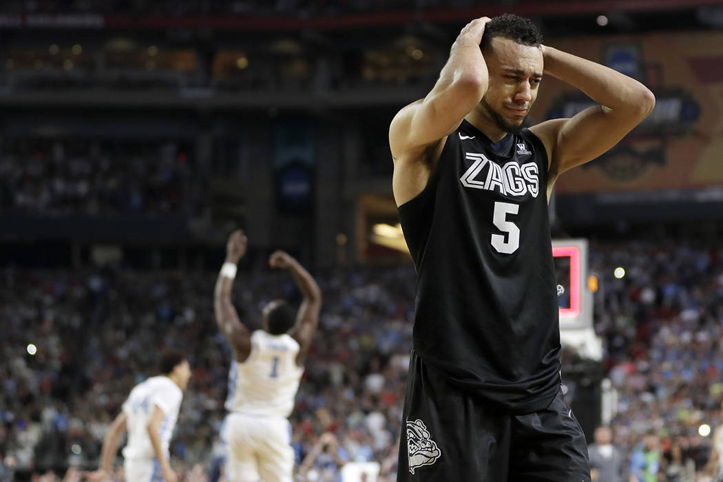 Gonzaga's Nigel Williams-Goss (5) reacts after the finals of the Final Four NCAA college basketball tournament against North Carolina, Monday, April 3, 2017, in Glendale, Ariz. North Carolina won  ...