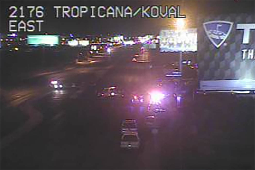 Police investigate a fatal crash at the intersection of Tropicana Avenue and Koval Lane. (Screenshot/nvfast.org)