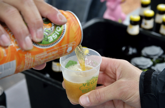An apricot hefe is poured at the Eurobrews tent during the Great Vegas Festival of Beer in the 800 block of Fremont Street in Las Vegas on Saturday, April 9, 2016. Bill Hughes/Las Vegas Review-Journal