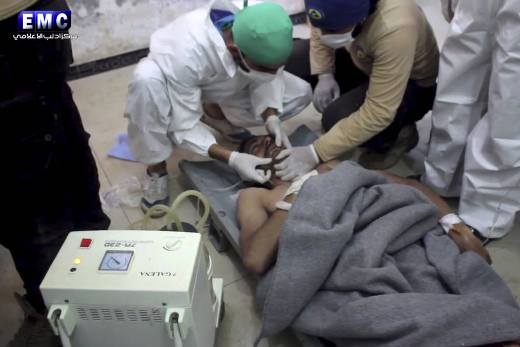 This frame grab from video provided on Tuesday April 4, 2017 shows a victim of a suspected chemical attack as he receives treatment at a makeshift hospital, in the town of Khan Sheikhoun, northern ...