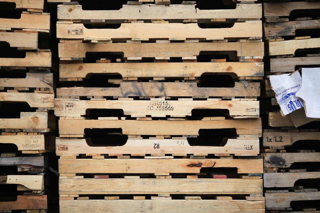 Stacks of pallets sit in the lot of Power Pallets in North Las Vegas on Friday, April 7, 2017. (Brett Le Blanc Las Vegas Review-Journal) @bleblancphoto