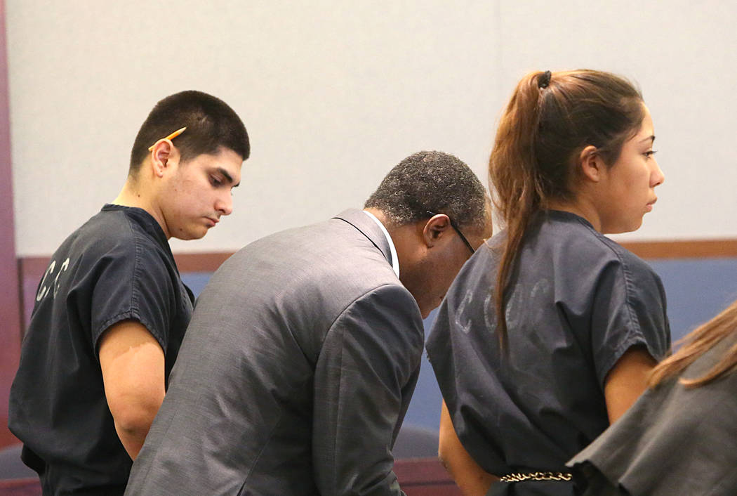 Brenda Garcia, right, appears during a preliminary hearing at the Regional Justice Center on Tuesday, April 4, 2017. Garcia is accused of paying $50 to a friend, Joseph Sanchez, left, to kill her  ...