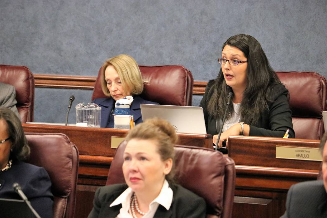 Assembly Legislative Operations and Elections chairwoman Olivia Diaz, D-North Las Vegas, calls for a vote on Senate Joint Resolution 2, lending symbolic support for the federal Equal Rights Amendm ...