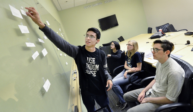 Armando Amaya, left, and from right, Sidney Christian, Carolyn Townsend and Elliot Kosaiyakanon (cq) take part in an exercise during a comprehensive sex education program at the Gay and Lesbian Ce ...