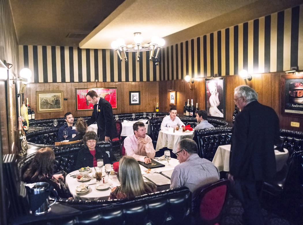 Dinner guests are served on Wednesday, April, 5, 2017, at the Golden Steer Steakhouse, in Las Vegas. Benjamin Hager Las Vegas Review-Journal @benjaminhphoto