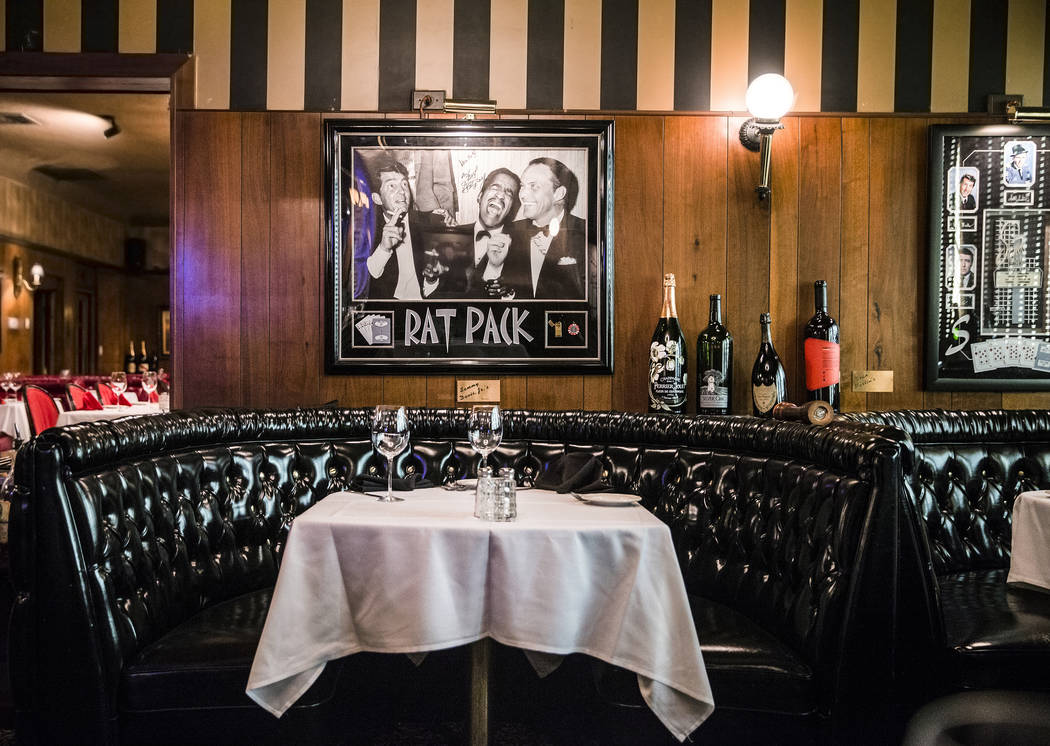 "The ""rat pack"" booth is one of the most popular seating options at the Golden Steer Steakhouse. Photo taken on Wednesday, April, 5, 2017, at the Golden Steer Steakhouse, in Las V ..."