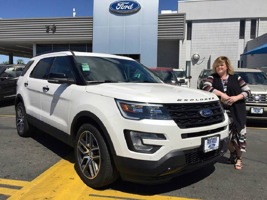 Friendly Ford internet business development director Josephine Gentry shows off the popular 2017 Ford Explorer sport utility vehicle at the dealership situated at 660 N. Decatur Blvd.