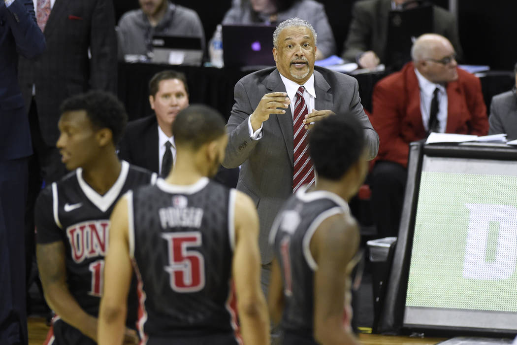 UNLV head coach Marvin Menzies talks to his team during their Mountain West Conference tournament game against San Diego State Wednesday, March 8, 2017, at the Thomas & Mack Center. San Diego  ...