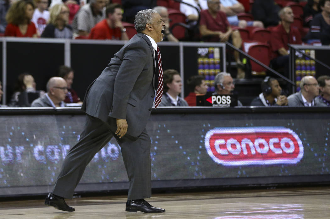 UNLV head coach Marvin Menzies reacts during a Mountain West Conference tournament basketball game at the Thomas & Mack Center in Las Vegas on Wednesday, March 8, 2017. San Diego State defeate ...