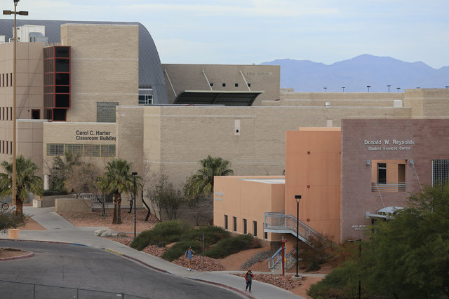 Students walk across campus at UNLV on Thursday, Feb. 9, 2017, in Las Vegas. UNLV has suspended the Delta Zeta sorority until fall 2019 for hazing and other incidents. (Brett Le Blanc/Las Vegas Re ...