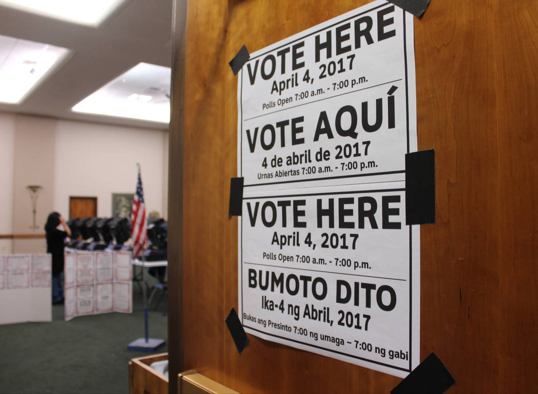 """Vote Here"" signs at Sun City MacDonald Ranch, Tuesday, April 4, 2017. (Gabriella Benavidez Las Vegas Review-Journal) @gabbydeebee"