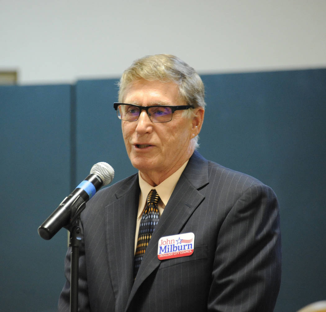 Photo courtesy Lee McDonald John Milburn, who is running for a seat on the Boulder City Council, speaks during the candidates night Tuesday, March 7, 2017, at the Elaine K. Smith Center.