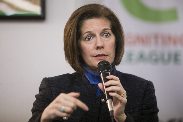 U.S. Sen. Catherine Cortez Masto, D-Nev., speaks during a panel discussion event hosted by the League of Conservation Voters Chispa Nevada, Thursday, Feb. 23, 2017, in Las Vegas. She said this wee ...