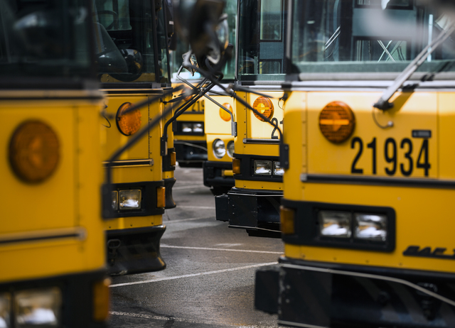 Rows of buses line up at Clark County School District. (Jeff Scheid/Las Vegas Review-Journal)