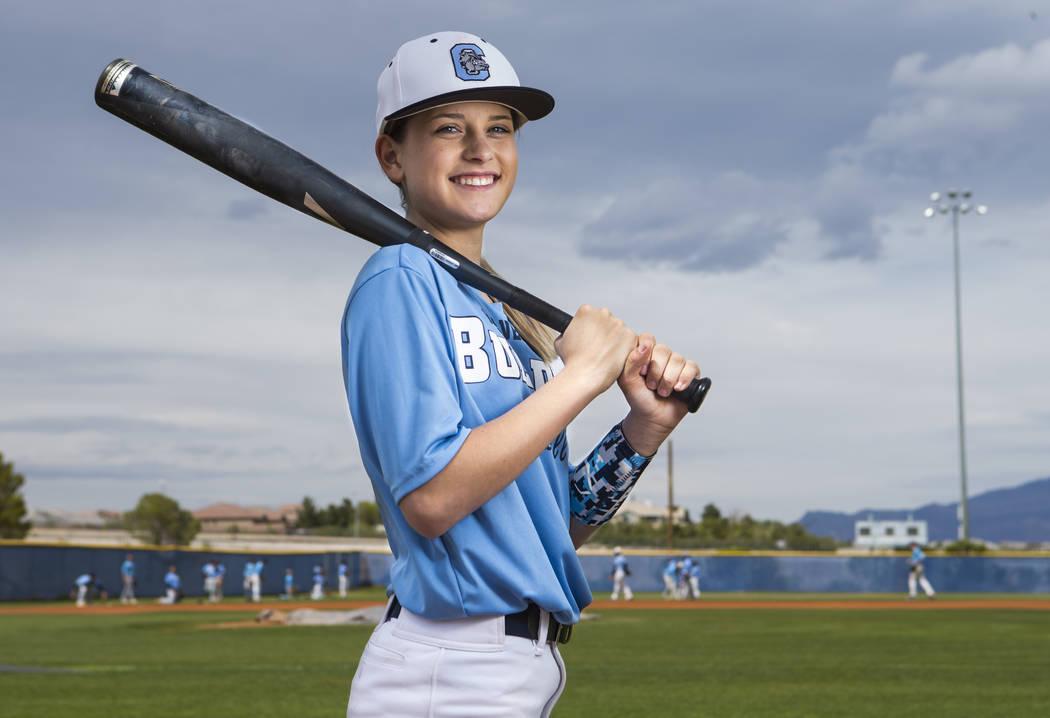 Centennial sophomore Denae Benites on the baseball field at Centennial High School in Las Vegas on Friday, April 7, 2017. Chase Stevens Las Vegas Review-Journal @csstevensphoto