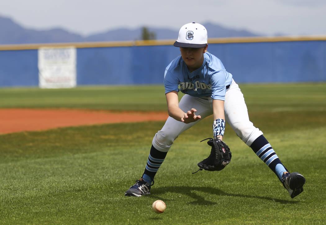 Centennial sophomore Denae Benites practices on the baseball field at Centennial High School in Las Vegas on Friday, April 7, 2017. Chase Stevens Las Vegas Review-Journal @csstevensphoto