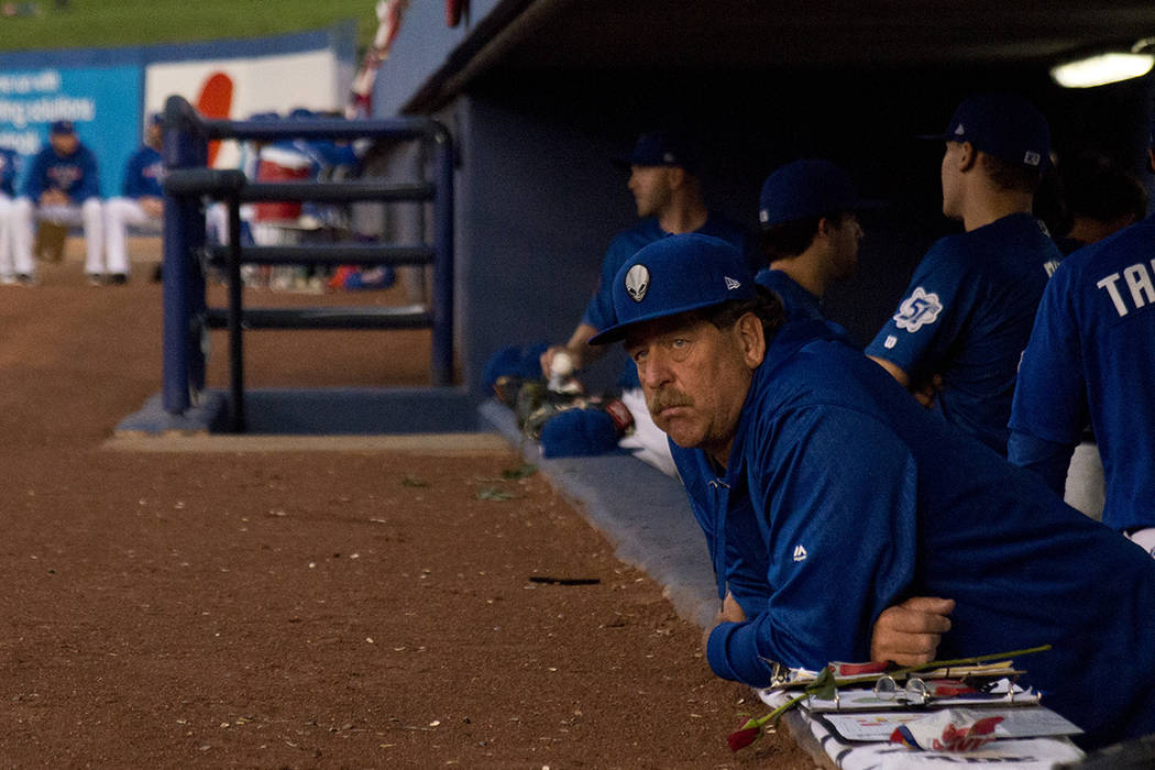 Las Vegas 51s pitching coach Frank Viola (16) looks out at the field during their game against the Sacramento River Cats at Cashman Field in Las Vegas Thursday, April 14, 2016. Daniel Clark/Las Ve ...