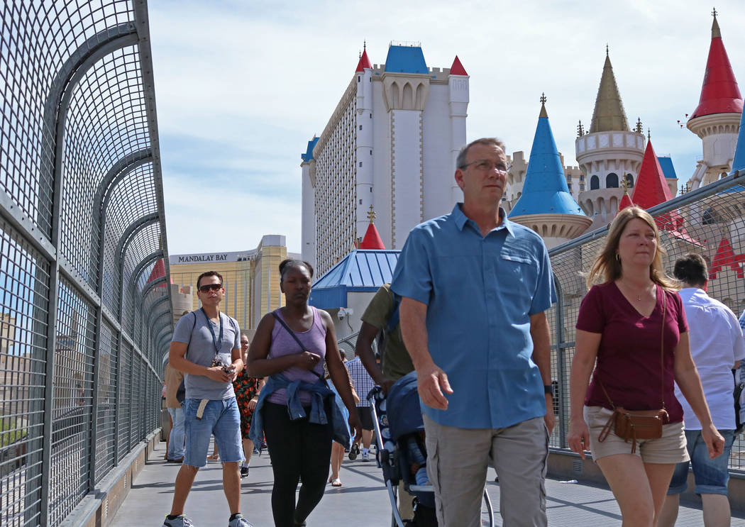 Pedestrians walk across the bridge above Tropicana Avenue towards New York, New York hotel-casino, Wednesday, April 5, 2017 in Las Vegas. (Gabriella Benavidez Las Vegas Review-Journal) @gabbydeebee