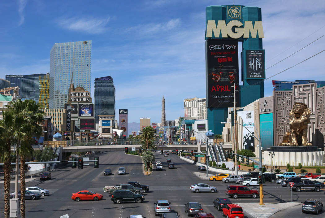 Las Vegas Boulevard from the bridge heading towards Tropicana hotel-casino, Wednesday, April 5, 2017 in Las Vegas. (Gabriella Benavidez Las Vegas Review-Journal) @gabbydeebee