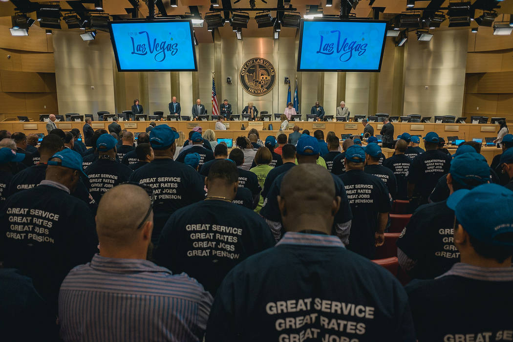 Republic Services employees packed Las Vegas City Council chambers Wednesday for the council's vote on an exclusive long-term franchise agreement with the company. Photo courtesy of the city of La ...