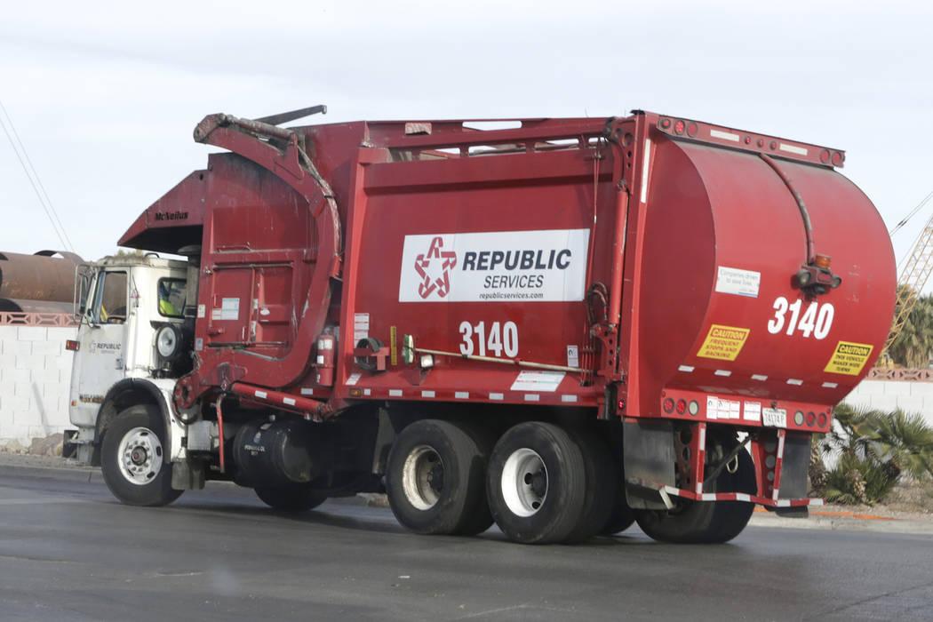 A Republic truck returns to Republic Services' disposal facility Wednesday, Dec. 7, 2016, in North Las Vegas. (Bizuayehu Tesfaye/Las Vegas Review-Journal) @bizutesfaye
