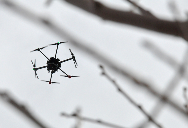 A commercial drone at the Henderson Unmanned Vehicle Range. (Buford Davis/Las Vegas Business Press)