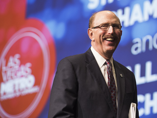 Bill Noonan, incoming chairman of the Las Vegas Metro Chamber of Commerce, smiles during an instillation luncheon at Cosmopolitan on Thursday Dec. 8, 2016. Noonan is the senior vice president of i ...