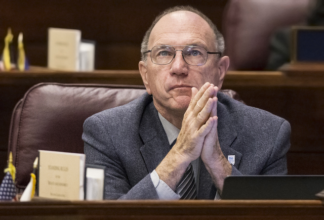 Assemblyman Al Kramer, R-Carson City, listens to a colleague during the fourth day of the Nevada Legislative session on Thursday, Feb. 9, 2017, in Carson City. (Benjamin Hager/Las Vegas Review-Jou ...