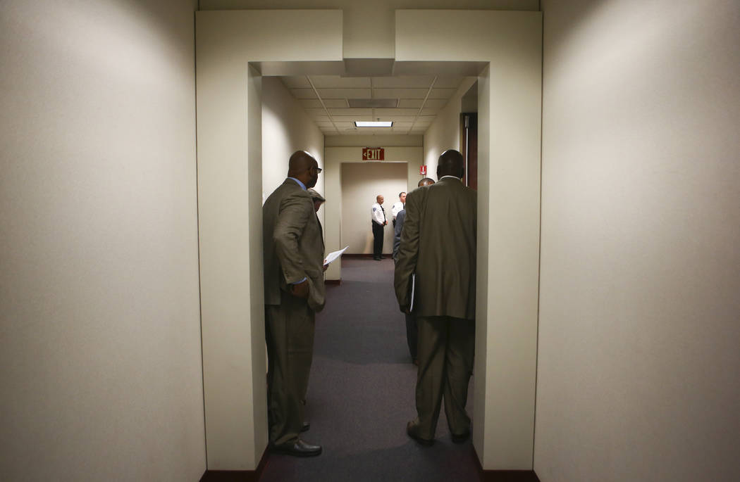 The crowd spills into the hallway during an Assembly education committee meeting discussing topics including the Achievement School District and sex education at the Sawyer Building in Las Vegas o ...