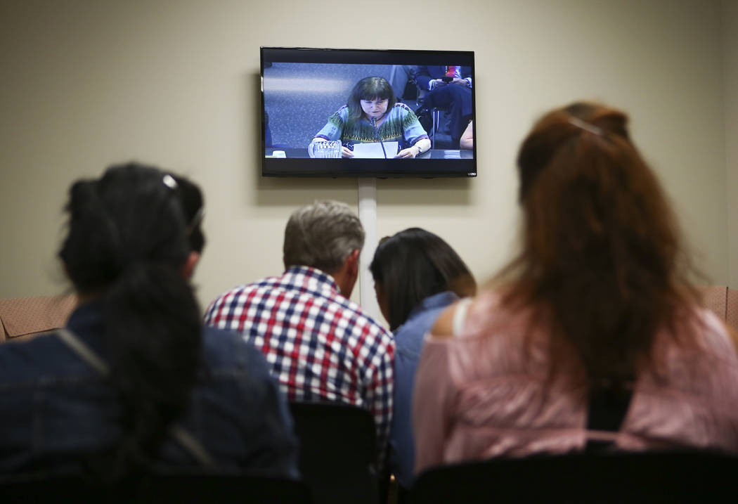 An overflow room during an Assembly education committee meeting discussing topics including the Achievement School District and sex education at the Sawyer Building in Las Vegas on Wednesday, Apri ...
