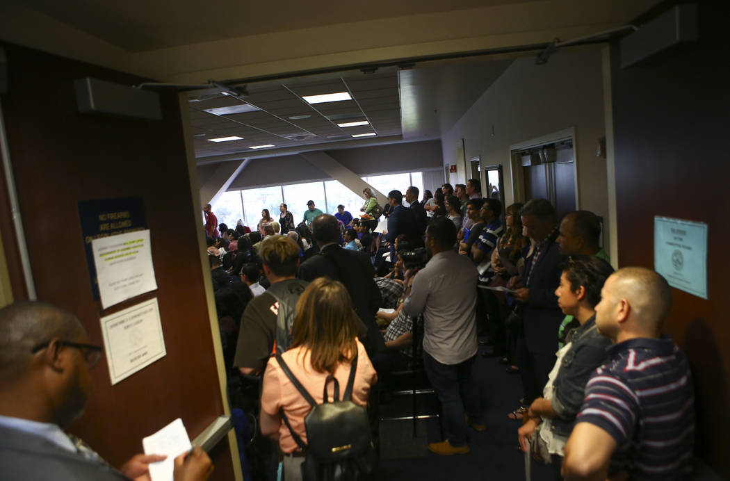 A standing room only crowd during an Assembly education committee meeting discussing topics including the Achievement School District and sex education at the Sawyer Building in Las Vegas on Wedne ...