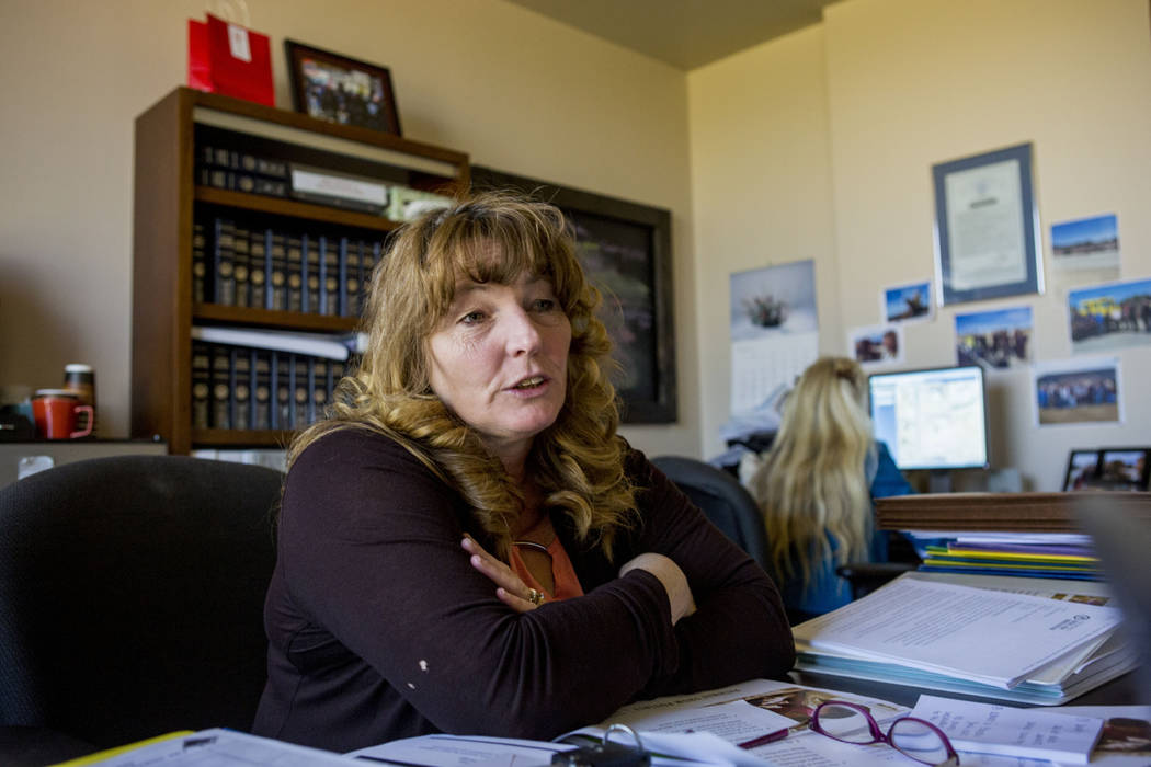 Clark County Commissioner Marilyn Kirkpatrick in her county office at the Regional Justice Center in Las Vegas, Tuesday, March 28, 2017. (Elizabeth Brumley Las Vegas Review-Journal) @EliPagePhoto