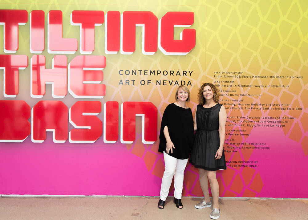 Michelle Quinn, left, and JoAnne Northrup curated the Tilting the Basin: Contemporary Art of Nevada exhibit, co-presented by the Art Museum at Symphony Park and Nevada Museum of Art. (Ray Alamo/Ar ...