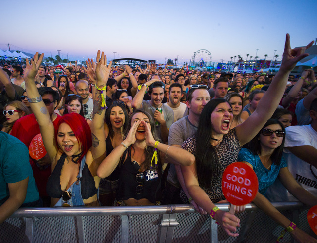 Fans cheer as Third Eye Blind performs during the Life is Beautiful music and arts festival in downtown Las Vegas on Sunday, Sept. 25, 2016. Chase Stevens/Las Vegas Review-Journal Follow @cssteven ...