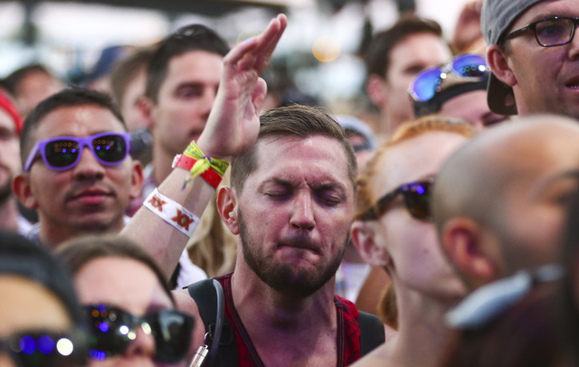 Fans watch as Third Eye Blind performs during the Life is Beautiful music and arts festival in downtown Las Vegas on Sunday, Sept. 25, 2016. Chase Stevens/Las Vegas Review-Journal Follow @cssteven ...