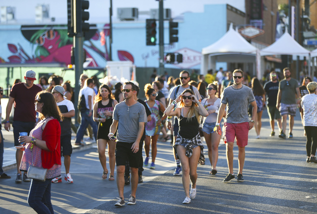 Attendees roam the festival grounds during the Life is Beautiful music and arts festival in downtown Las Vegas on Sunday, Sept. 25, 2016. Chase Stevens/Las Vegas Review-Journal Follow @csstevensphoto